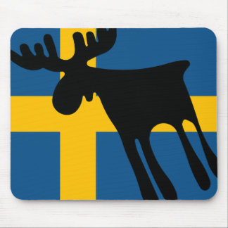 Elk/Moose with the Swedish flag Mouse Mat