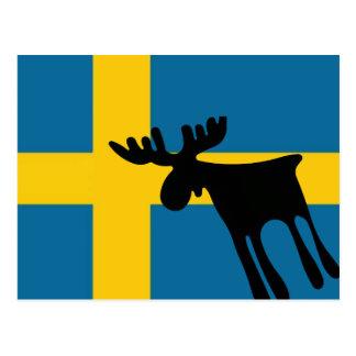 Elk/Moose with the Swedish flag Postcard