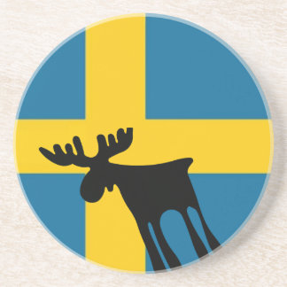 Elk/Moose with the Swedish flag Sandstone Coaster