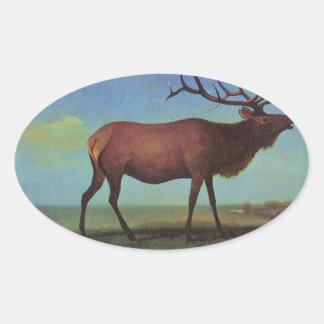 Elk Painting Oval Sticker