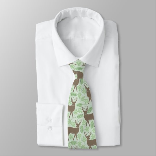 Elk Pattern Green Nature Tie