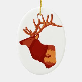 Elk Profile Ceramic Oval Decoration