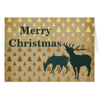 Elk | Reindeer with Golden Trees Merry Christmas Greeting Card