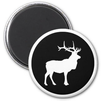 Elk Silhouette 6 Cm Round Magnet