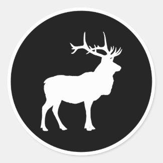 Elk Silhouette Round Sticker
