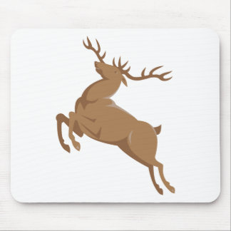 elk stag deer jumping retro style mouse pad