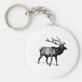 Elk - Wapiti (line art) Basic Round Button Key Ring