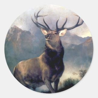 Elk wild animal painting round sticker