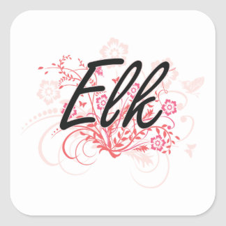 Elk with flowers background square sticker