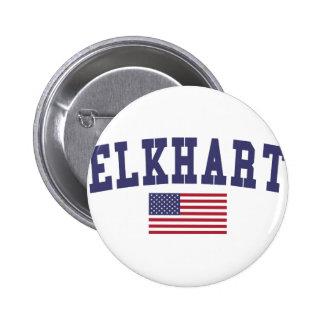 Elkhart US Flag 6 Cm Round Badge