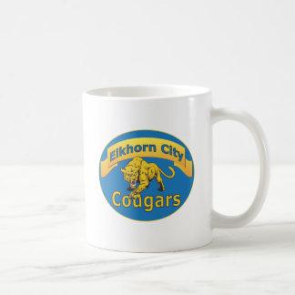 Elkhorn City Cougars with Banner-blue oval Basic White Mug