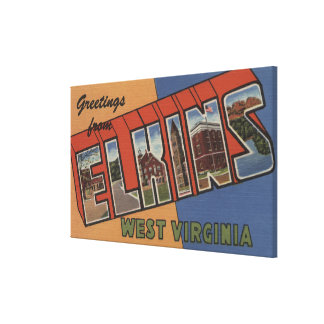 Elkins, West Virginia - Large Letter Scenes Canvas Print