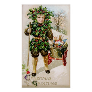Ellen Clapsaddle Holly Boy with Toys Posters