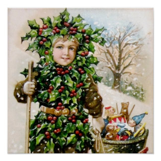 Ellen Clapsaddle Holly Boy with Toys Print