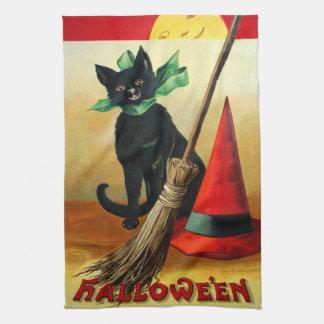 Ellen H. Clapsaddle: Black Cat, Broom and Hat Tea Towel
