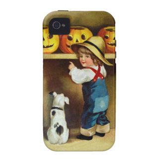 Ellen H. Clapsaddle: Boy, Dog and Jack O'Lanterns iPhone 4 Cases