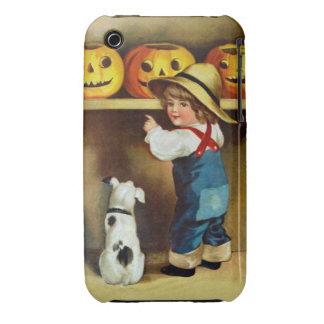 Ellen H. Clapsaddle: Boy, Dog and Jack O'Lanterns Case-Mate iPhone 3 Cases