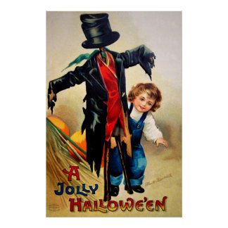 Ellen H. Clapsaddle: Boy with Scarecrow Poster