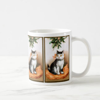 Ellen H Clapsaddle Cat under Mistletoe Coffee Mugs