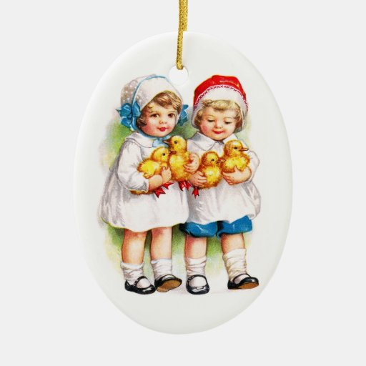 Ellen H. Clapsaddle: Children with Ducklings Ceramic Oval Decoration