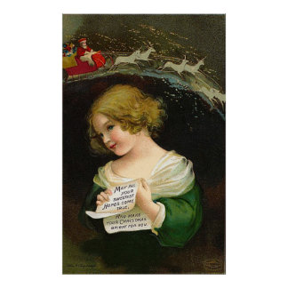 Ellen H. Clapsaddle - Christmas Girl with Letter Poster