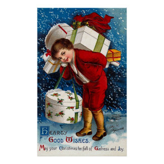 Ellen H. Clapsaddle - Christmas Shopping Boy Poster