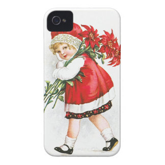 Ellen H. Clapsaddle: Girl with Christmas Flowers iPhone 4 Case-Mate Case
