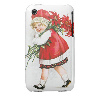 Ellen H. Clapsaddle: Girl with Christmas Flowers Case-Mate iPhone 3 Cases