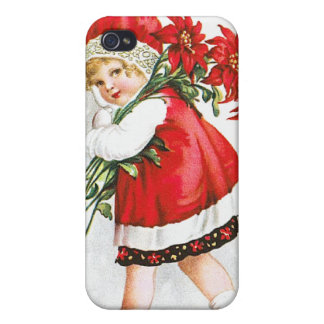 Ellen H. Clapsaddle: Girl with Christmas Flowers iPhone 4/4S Case