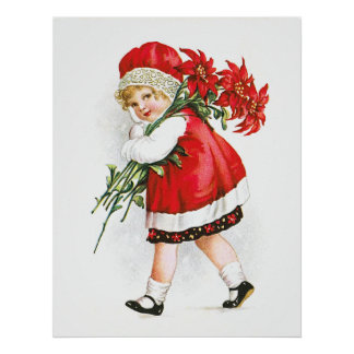 Ellen H. Clapsaddle: Girl with Christmas Flowers Print