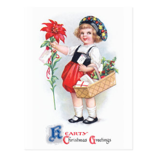Ellen H. Clapsaddle: Girl with Poinsettia Postcard