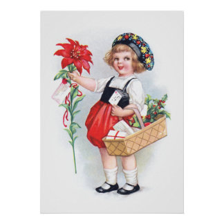 Ellen H. Clapsaddle: Girl with Poinsettia Poster
