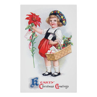 Ellen H. Clapsaddle: Girl with Poinsettia Print
