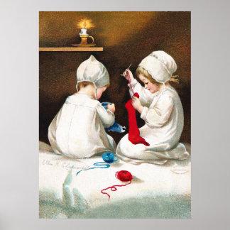 Ellen H. Clapsaddle: Girls Stitching Stockings Print