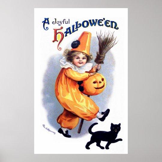Ellen H. Clapsaddle: Halloween Harlequin with Cat Poster