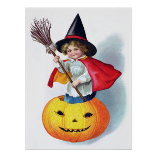 Ellen H. Clapsaddle: Little Pumpkin Witch Print