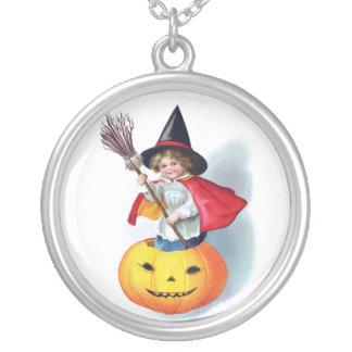 Ellen H. Clapsaddle: Little Pumpkin Witch Round Pendant Necklace
