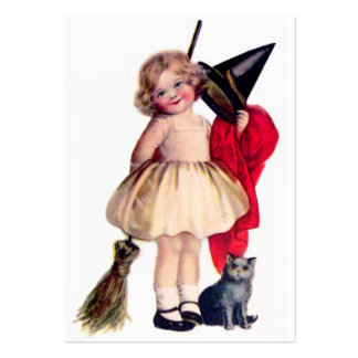 Ellen H. Clapsaddle: Little Witch with Cat Large Business Cards (Pack Of 100)