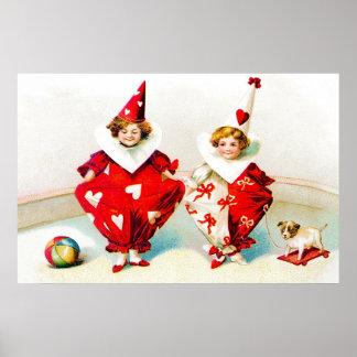 Ellen H. Clapsaddle Pierrot Children Valentine Posters