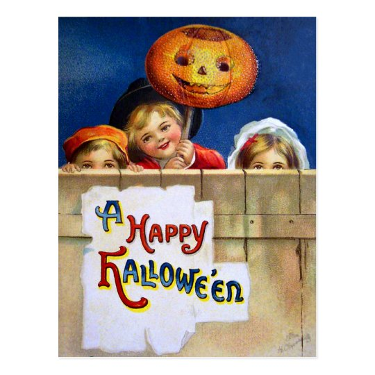 Ellen H. Clapsaddle: Three Halloween Children Postcard