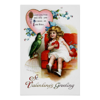 Ellen H. Clapsaddle: Valentine Girl with Parrot Poster