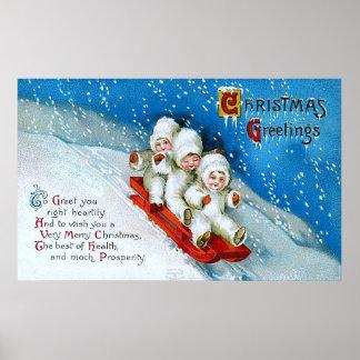 Ellen H. Clapsaddle: Winter Kids on Sledge Poster