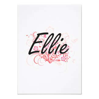 Ellie Artistic Name Design with Flowers 13 Cm X 18 Cm Invitation Card