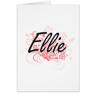 Ellie Artistic Name Design with Flowers Greeting Card