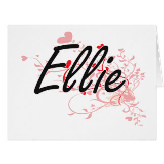 Ellie Artistic Name Design with Hearts Big Greeting Card