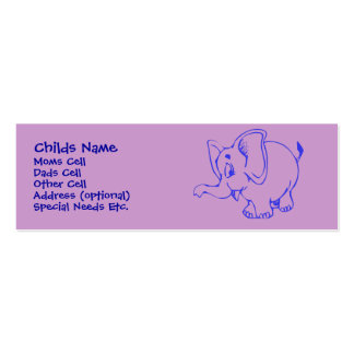 Ellie Elephant Child I.D. Pack Of Skinny Business Cards