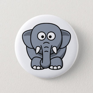 Ellie the Elephant Cute Cartoon Animal 6 Cm Round Badge