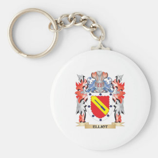 Elliot- Coat of Arms - Family Crest Basic Round Button Key Ring