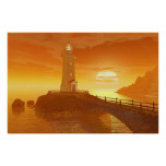 Elliot Key Lighthouse - Golden Sunset Poster