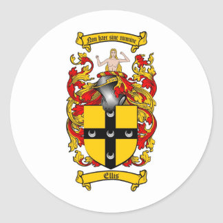 ELLIS FAMILY CREST -  ELLIS COAT OF ARMS CLASSIC ROUND STICKER